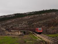 The ŠZ 541 004 seen hauling a freight train between Črnotiče and Hrastovlje