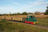 A Csömödéri Erdei Vasút C50 405 Iklódbördőcei temető és Csömödér ÁEV között egy faanyagot szállító tehervonattal