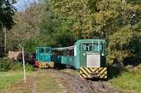 A Csömödéri Erdei Vasút C50 405 tehervonattal, és a 8235 409 vonatmegelőzést végrehajtó személyvonattal Dömefölde állomáson, Zala megyében