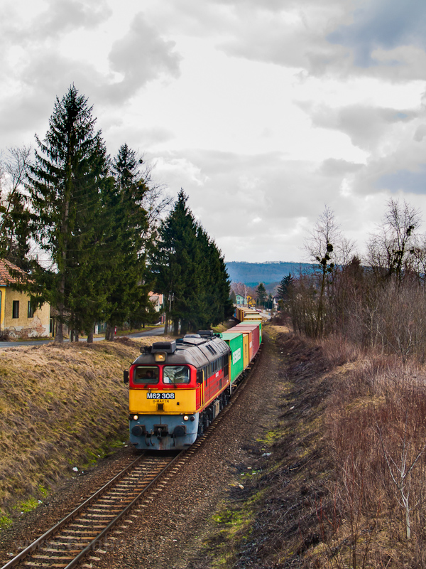 The M62 308 seen hauling a freight train between Zalaegerszeg and Zalaszentiván photo
