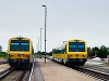 The GYSEV 5047 502-9 and 247 508 seen at Hegyfalu