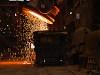 Emptying steel mill slag in a slag car at Dunaferr