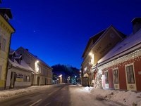 The main street of Hohenberg in advent lights together with the castle and Caf� Partsch, de best pub in the Traisen valley