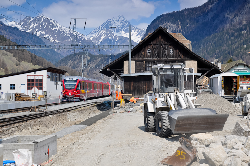 The RhB ABe 8/12 3504 is seen hauling an EngadinStar REX at Zernez station during its reconstruction photo