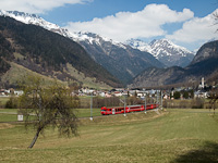 The RhB NEVA driving car number 1753 between Zernez and Carolina in Unterengadin