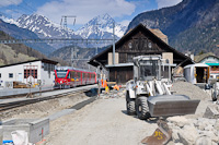 The RhB ABe 8/12 3504 is seen hauling an EngadinStar REX at Zernez station during its reconstruction
