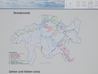 The very detailed track map of the Rhätische Bahn photographed on the information post of the reconstruction of Zernez station