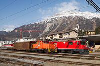 The RhB Ge 4/4<sup>II</sup> 630 and the Ge 3/3 215 at Samedan, the Eastern centre of the Rhätian Railways