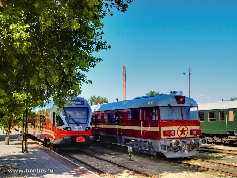 Az MDmot 3017 vezérlőkocsija és az 5341 055-2 pályaszámú FLIRT a Füstiben fotó