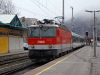 The 1144 215 is arriving at Zell am See with a set of rented ex-DB cars in an IC train