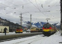 The ÖBB 1116 036-3 Deutschland-Lok, the DB 103 245-7 and the X534.54 at Kirchberg in Tirol station