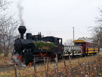 The Gyngyi steam locomotive at Gyngys at the branching of the two lines