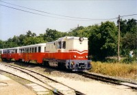 The Mk45 2001 at Széchenyi-hegy station, at the vehicle parade organized for the 50th birthday of the line
