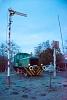 Az iparvasúti A21 011 tolatómozdony kiállítva Pusztakettős megállóhelyen