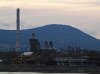The Óbuda Gas Factory and the Behemoth Chimney in the last lights of todays's Sun