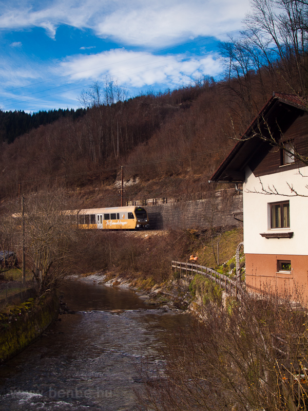 The ET4 Himmelstreppe electric multiple unit seen at Frankenfels village on the Mariazellerbahn photo