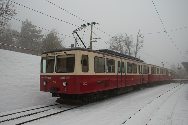 A Fogaskerekű Vasút (60-as villamos) SGP 55 Széchenyi-hegy állomáson fotó