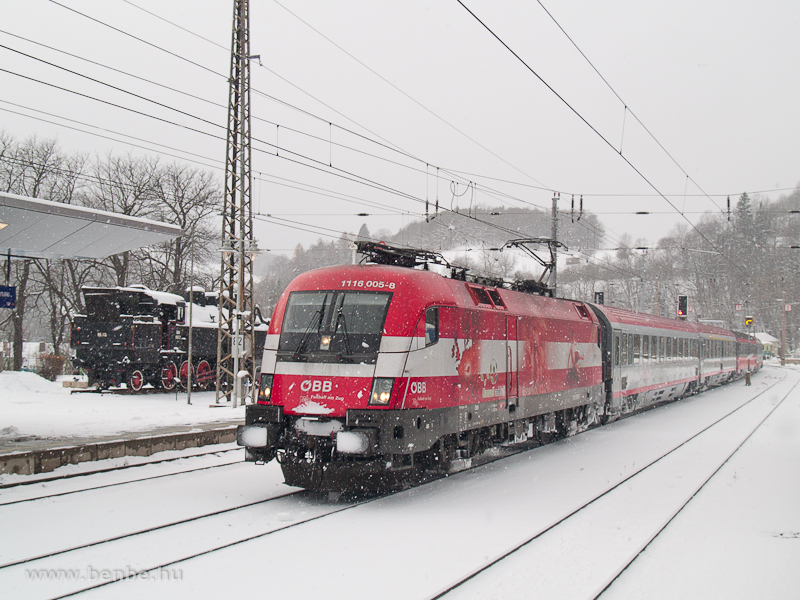 The Austrian locomotive decorated for the Football European Championships, 1116 005-8 is passing Payerbach-Reichenau with a Vienna-bound InterCity train photo