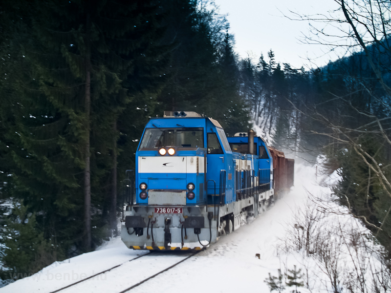 The ŽSSKC 736 017-5 and a coupled other class 736 is hauling a short freight between Harmanec Jaskyňa and Čremošné photo