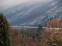 A ŽSSK class 812 railcar on the Selmecbánya  (Banská Štiavnica, Slovakia) to Garamberzence (Hronská Dúbrava, Slovakia) railway's high above the valley section between Banská Bela and the closed down Kozelník stops on the bigger viadukt