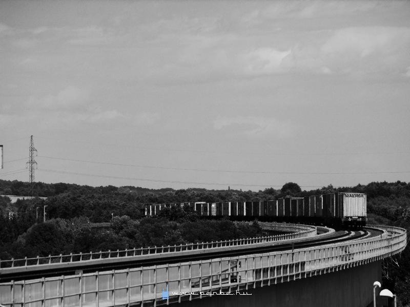A freight train on the Nagyrákos viaduct photo