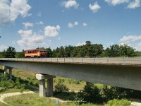 The Bzmot 390 at the smaller Nagyrákos viaduct