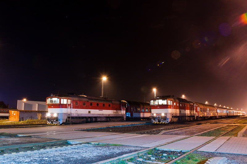The ŽSSK 750 355-9 and the 750 131-5 seen at Prievidza photo