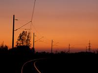 A Nagyút-Visonta vasútvonal a napnyugtában