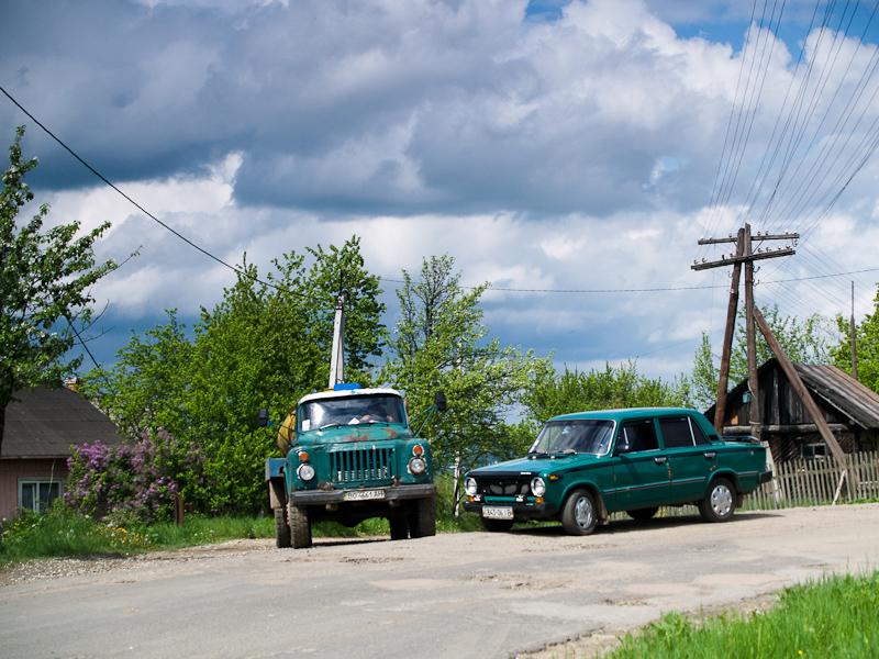 Retro vehicles (Lada car and Ural lorry) photo