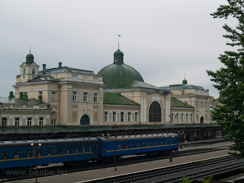 A passenger train seen at Ivano-Frankivsk railway station (Ukraine) photo