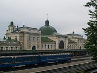A passenger train seen at Ivano-Frankivsk railway station (Ukraine)