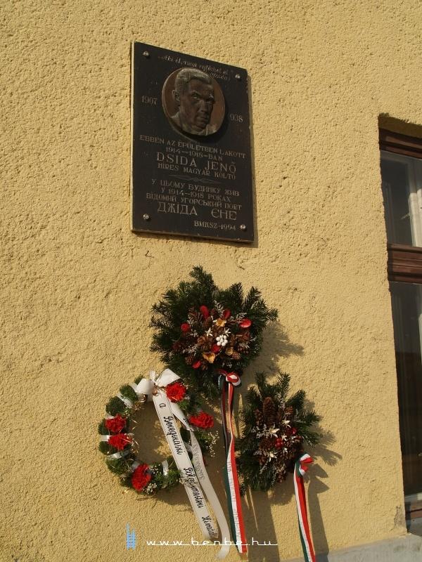 Dsida Jenő emléktáblája a beregszászi vasútállomás utcai homlokzatán fotó