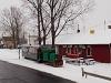A Börzsöny Kisvasút D04-601 pályaszámú LOWA-mozdonya a fűtőház és a pályaudvar között Szobon