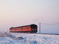 The MDmot 3003-Btx 016 trainset between Hortobágyi halastó and Hortobágy