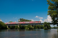 An unidentified ŽSSK 263  seen between Šal'a and Trnovec nad Váhom on the bridge of the Váh river