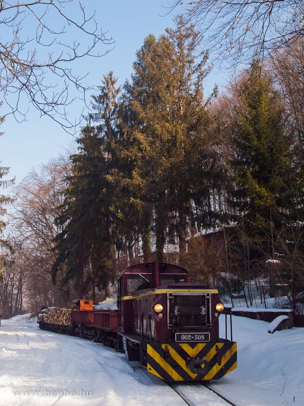 A LÁEV D02-508 tehervonattal Puskaporos állomáson fotó