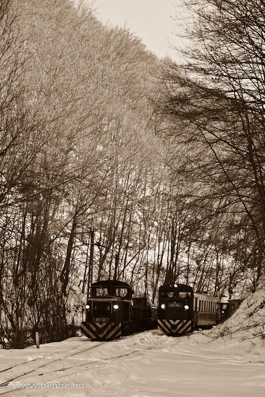 A LÁEV D02-508 tehervonatát a zöld D02-501-es által húzott menetrend szerinti személyvonat előzi Fazola-kohó állomáson fotó