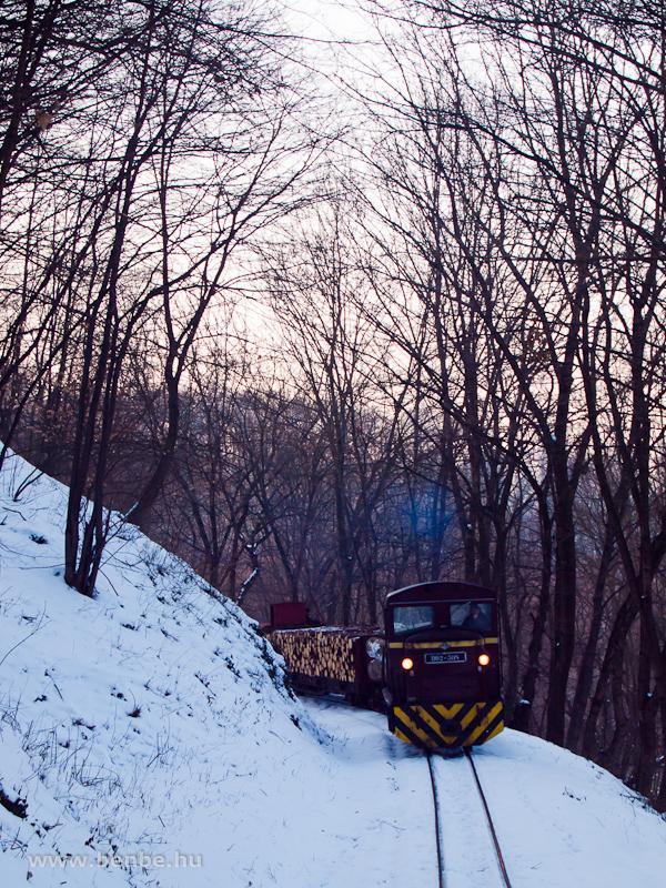 A D02-508 tehervonattal ereszkedik lefelé a völgyből Papírgyár állomás előtt fotó