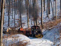 The L�EV D02-508 hauling a freight train uphill between Pap�rgy�r and Puskaporos stations