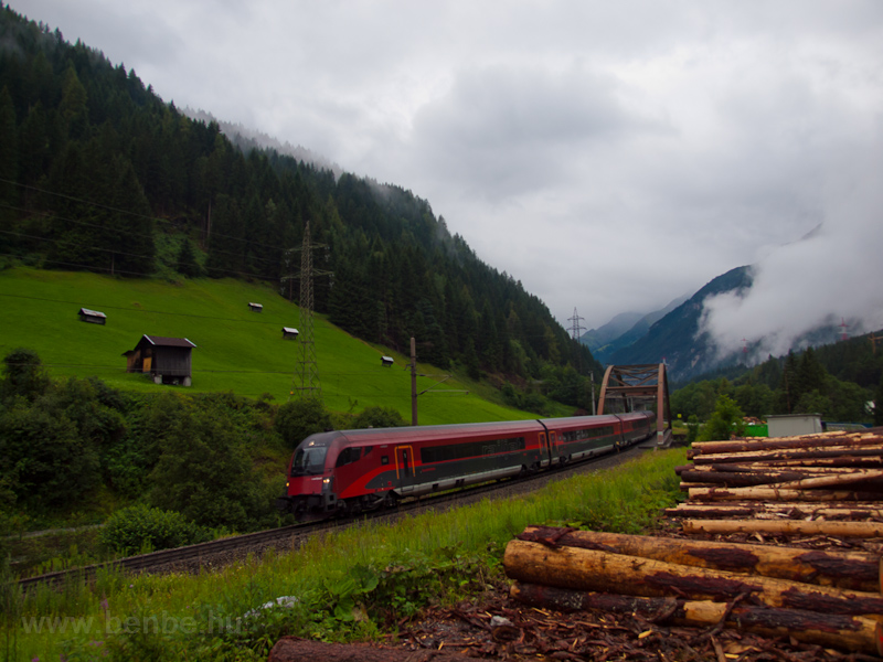 An unidentified ÖBB railjet  seen between St. Anton am Arlberg and Flirsch on Rosannabrücke II photo