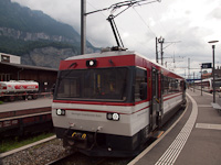 The Meiringen-Innertkirchen-Bahn Be 4/4 8 seen at Meiringen