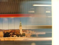 A blurred underground train on the freshly opened Batthyány square station