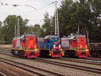 Az RŽD EM18DM-856, a TEM2-7034 és a TEM18DM-863 Tver állomáson