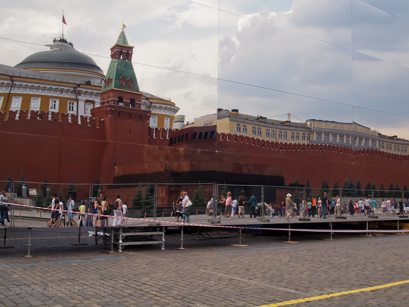The Lenin mausoleum reflected in a temporary mirror labirinthy built at the middle of Red Square photo