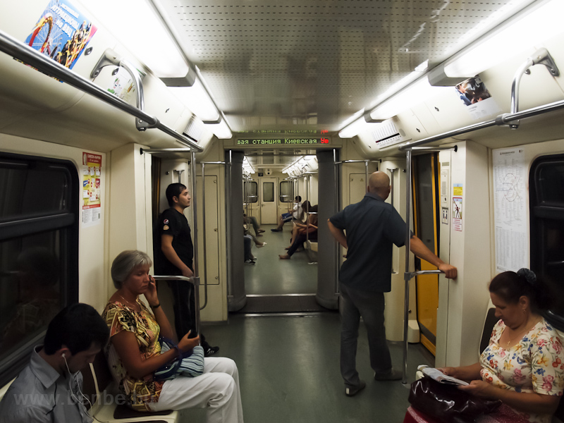 Inside a 81-740 metro train in Moscow photo
