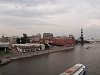 The Moskva river, the Red October chocolate factory and the Peter the Great statue, that was made of a Columbus statue by Ceterelli rejected by the Americans and erected here by the old roommate of the artist from college, the former mayor of Moscow, Luzhkov