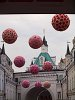 Flowerspheres above the streets of Moscow