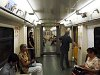 Inside a 81-740 metro train in Moscow