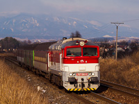 The ŽSSK 757 014-6 seen between Turčianske Teplice and Alsóstubnya elágazás