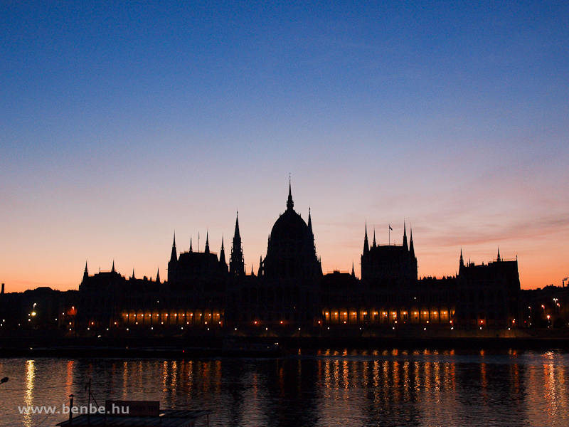 The Budapest Parliament building with the old lights but shut down main reflectors at sunrise photo